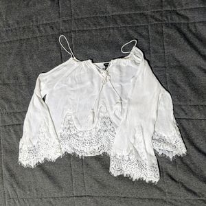 Lace Edge Forever 21 White Open Shoulder Crop Top